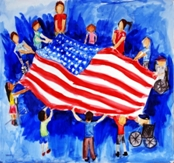 Child's painting showing a group of kids holding an American flag