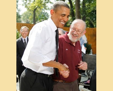 Main Street Alliance member Jim Houser with President Obama