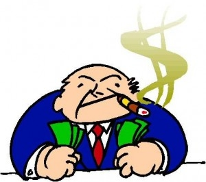 cartoon picture of a CEO with cash in both fists, cigar smoke in the shape of a dollar sign