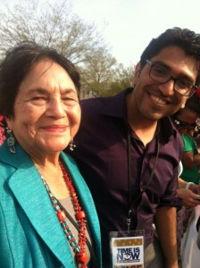 Dolores Huerta and Fernando at the April 10, 2013 Immigration Action in Washington, D.C.